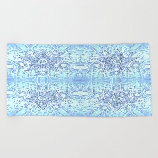 Frozen Blue Stars Beach Towel