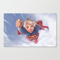 supergirl Canvas Prints featuring Supergirl by abraaolucas