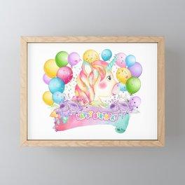 Happy Birthday Unicorn Party Framed Mini Art Print