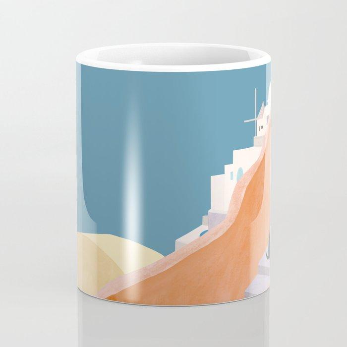 Santorini Pebble Stairs and Houses Coffee Mug