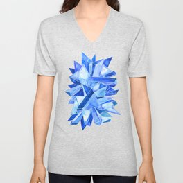Sapphire Watercolor Facets Unisex V-Neck