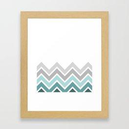 WHITE/ TEAL CHEVRON FADE Framed Art Print