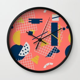 Neon Coral Memphis Toss - Limited Color Palette 2019 Wall Clock