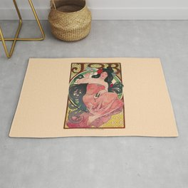 Alphonse Mucha Job Rolling Papers Art Nouveau Woman Rug