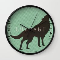 courage Wall Clocks featuring Courage by Laura Santeler