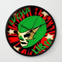 mucha Wall Clocks featuring Mucha Lucha by Los Espada Art