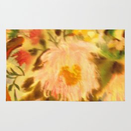 Watercolor Asters. Still-Life. Flowers. Bouquet. Rug