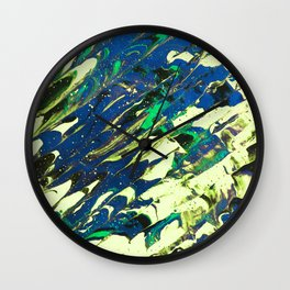 Fluid Acrylic Painting Multi Color Glitch Wave Effect Lime Yellow Green Blue Wall Clock