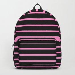 Black & Light Pink Stripes Backpack