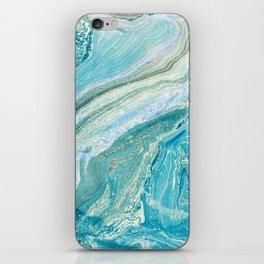 Turquoise Liquid Marble iPhone Skin