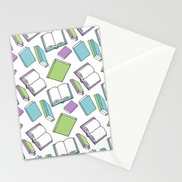 Doodle Books - Pattern in Green, Purple and Blue on a white background Stationery Cards