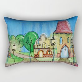 Landscape Painting Fairy town Acrylic S14 Contemporary Nursery Cityscape art for baby children kids Rectangular Pillow
