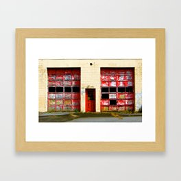 Red Doors on Garage #1 & #2 Framed Art Print