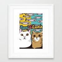 nori Framed Art Prints featuring Nori&Tama by sol_pro