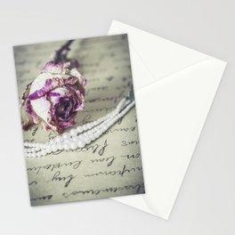 love letter with pearls and rose Stationery Cards