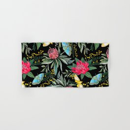 Protea flower botanical watercolor Hand & Bath Towel