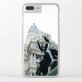 Philadelphia City Hall with Horse Statue Clear iPhone Case