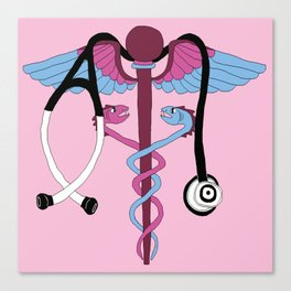 medical caduceus and stethoscope, pink Canvas Print
