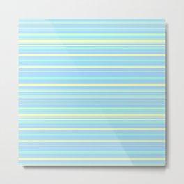 Sky Blue & Light Yellow Candy Lines Metal Print