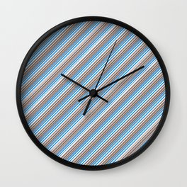 Blue Grey White Inclined Stripes Wall Clock