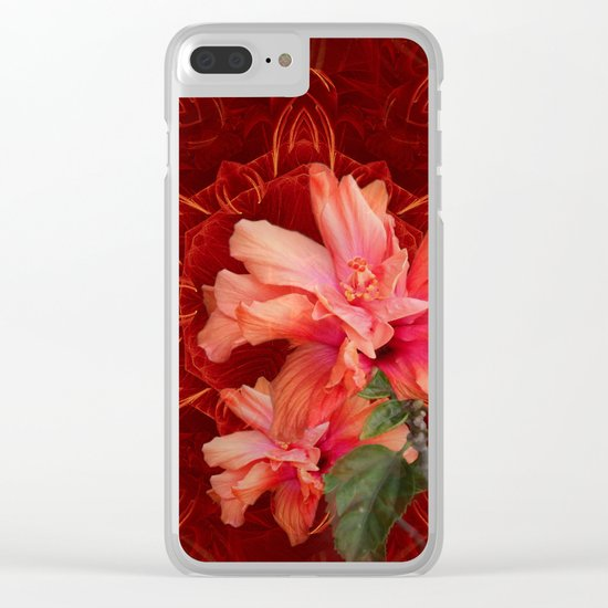 Orange hibiscus and vibrant kaleidoscope Clear iPhone Case