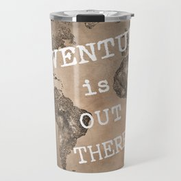 Adventure is out there. Stars world map. Sepia Travel Mug