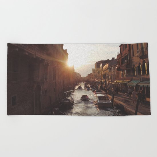 BOAT - STREETS - RIVER - TOWN - LIFE - CULTURE - PHOTOGRAPHY Beach Towel