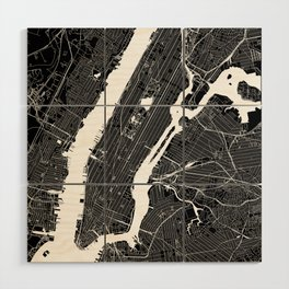 New York City Black And White Map Wood Wall Art