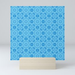 Modern Caribbean Blue Boho Lace Mandala Print Mini Art Print