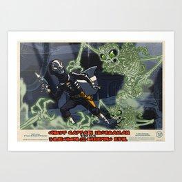Ghost Captain Skuldaman Versus The Legion Of The Creeping Evil Art Print