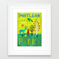 parks Framed Art Prints featuring Portland Parks by Jon MacNair
