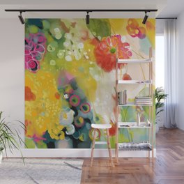 abstract floral art in yellow green and rose magenta colors Wall Mural