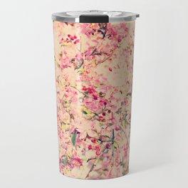 Vintage Pink Crabapple Tree Blossoms in the Sun Travel Mug