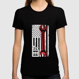 Elevator Mechanic Maintenance Flag Tool Technician graphic T-shirt