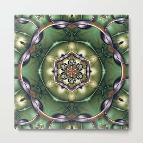 Mystery Mandala in Green Metal Print