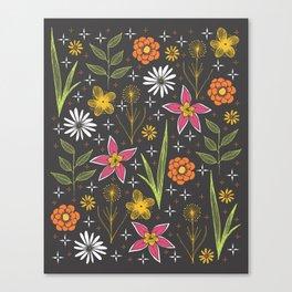 bright retro floral print Canvas Print