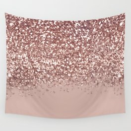 Glam Rose Gold Pink Glitter Gradient Sparkles Wall Tapestry