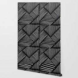 Lines and Patterns in Black and White Brush Wallpaper