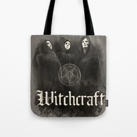 witchcraft Tote Bags featuring Witchcraft by Corpse inc
