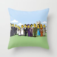 downton abbey Throw Pillows featuring Downton Abbey cast by Adrien ADN Noterdaem