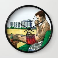 hunter s thompson Wall Clocks featuring Hunter S. Thompson, The Rum Diary by Abominable Ink by Fazooli