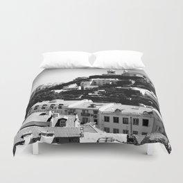 Portugal Hills, Lisbon | Black & White Duvet Cover