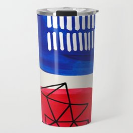 Fun Abstract Minimalist Mid Century Modern Colorful Shapes Red Blue Color Harmony Watercolor Bubbles Travel Mug