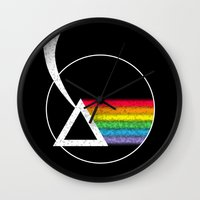 dark side of the moon Wall Clocks featuring Dark Side of the Moon by Maira Artwork