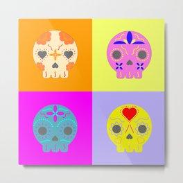 Pop Art Sugar Skulls Metal Print