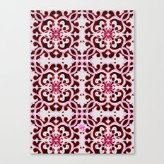 Lotus Floral Tile Pattern Canvas Print