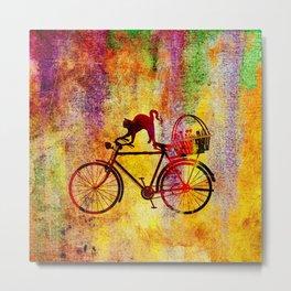 Cat and Bicycle Metal Print
