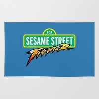 sesame street Area & Throw Rugs featuring Sesame Street Fighter by Franz24