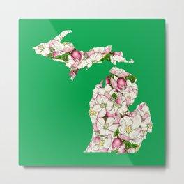 Michigan in Flowers Metal Print