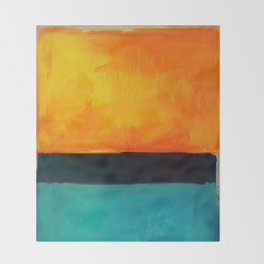 Mark Rothko Interpretation Orange Blue Throw Blanket